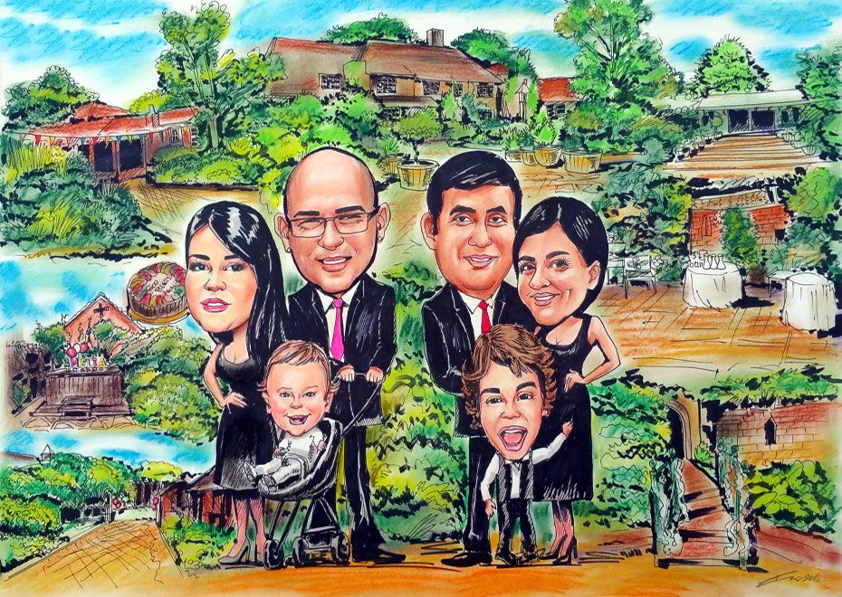 Caricature from photo of 2 families