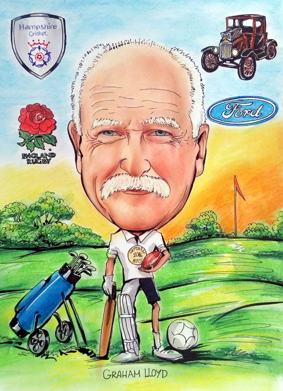 Caricature from photo of golf captain
