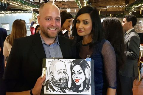Christmas party caricatures