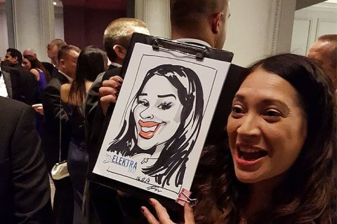 Corporate Christmas party caricatures