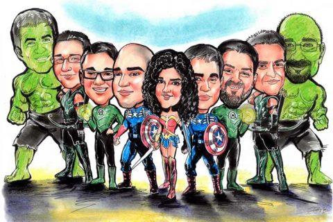 Caricature art as heroes