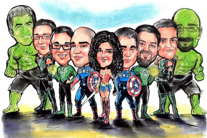 Caricature art as heroes