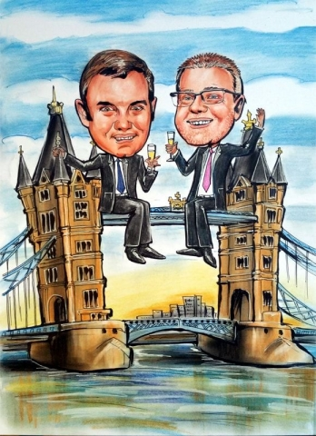 Caricature from photos of a London bridge