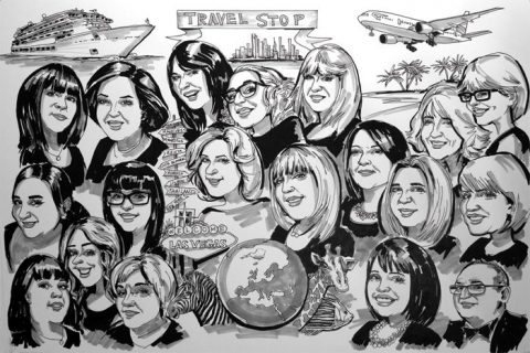 Travel agency caricature
