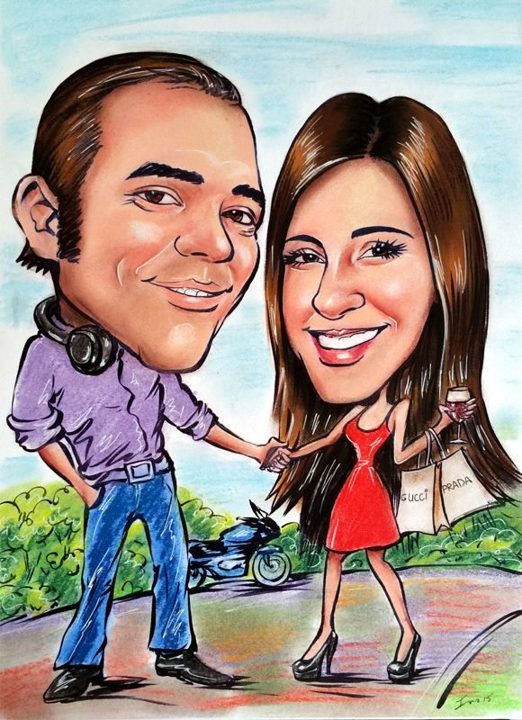 Caricature from photos of a couple