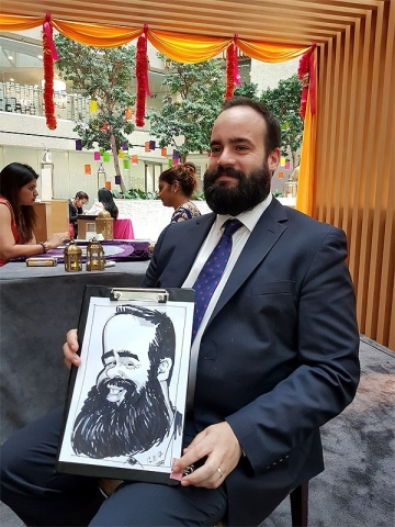 Corporate caricatures at Coutts Bank London