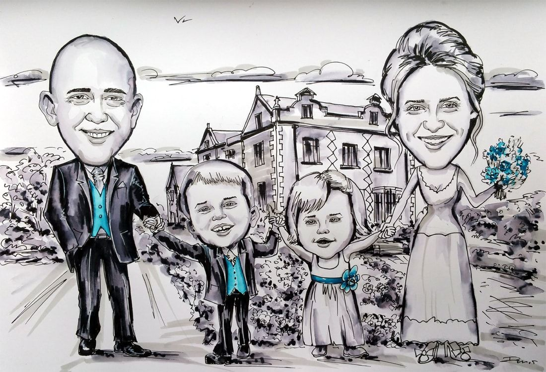 Caricature from photos of a family