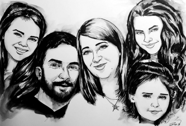 Caricature from photos of a family of 5