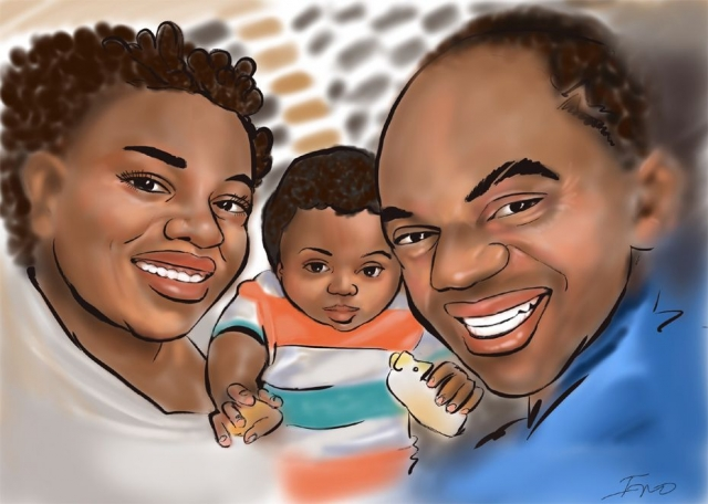 Digital Family caricature on iPad