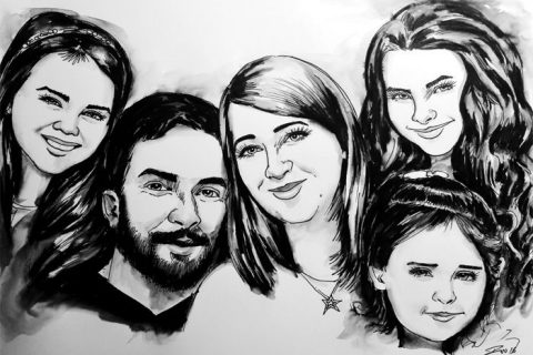 Caricature of a family