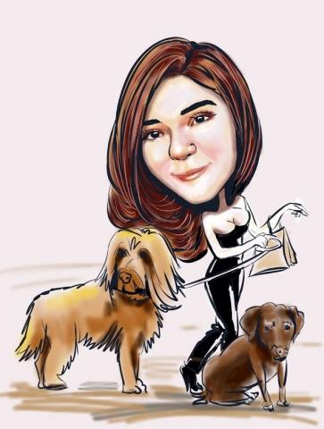 Digital caricature on iPad Girl with gods