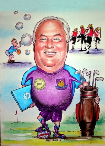Caricature from photos of a golf club captain