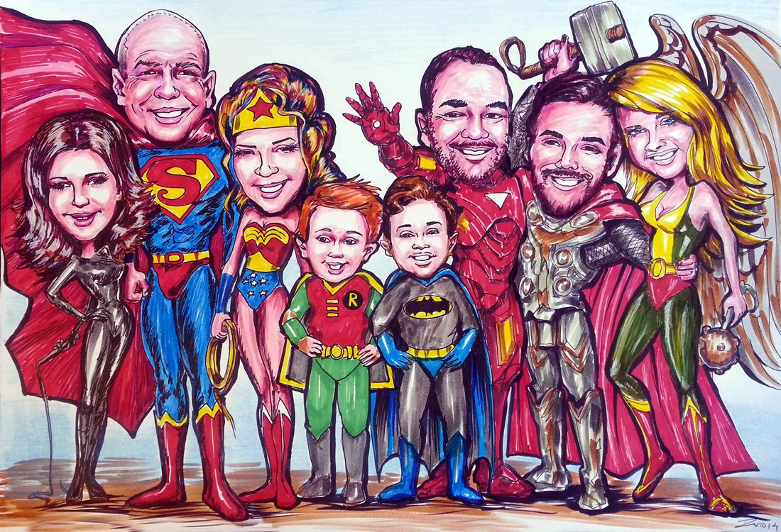 Caricature from photos of a family as heroes