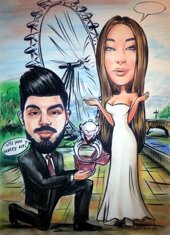 Caricature from photos of a proposal