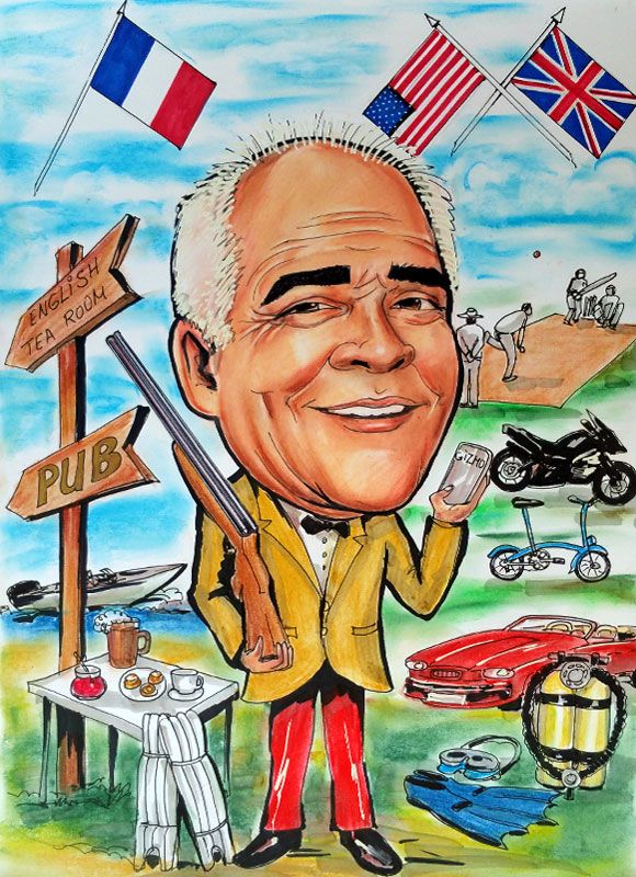 Caricature from photo of a retiring man