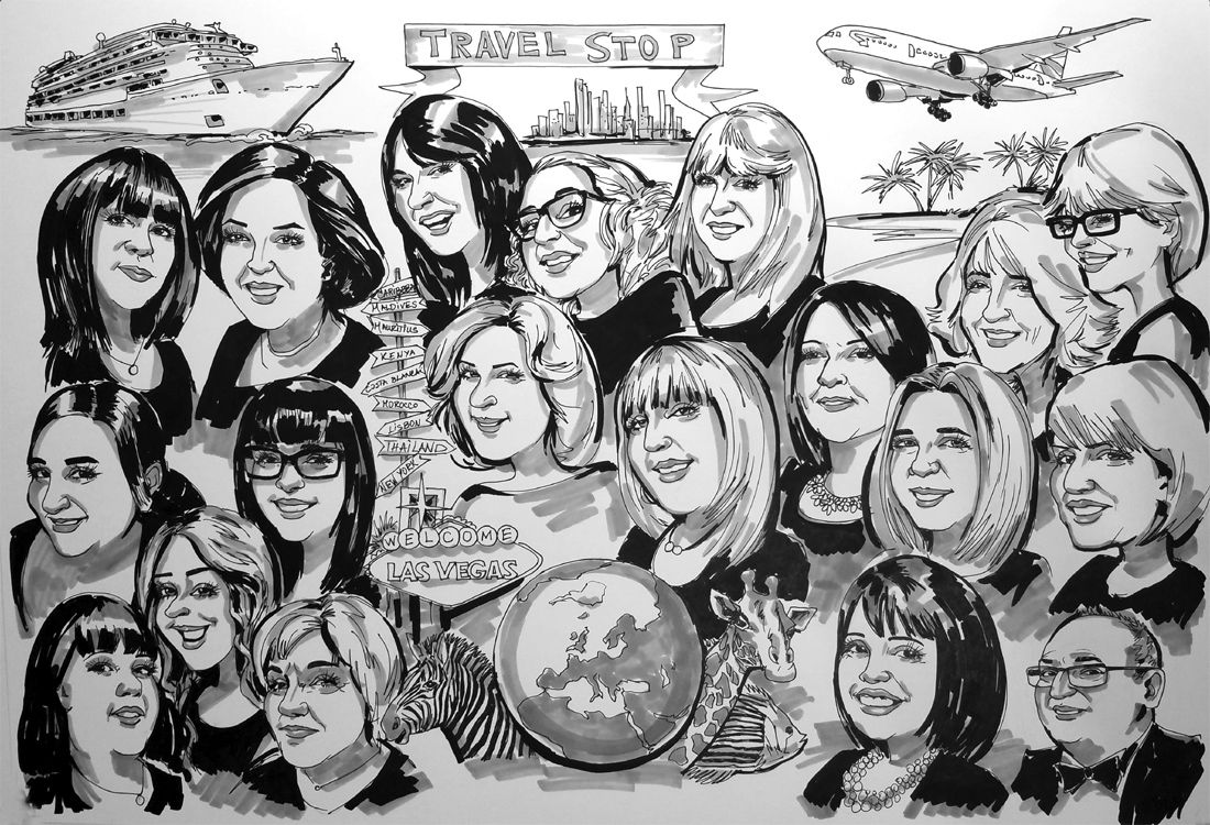 Caricatures from photos of a travel agency
