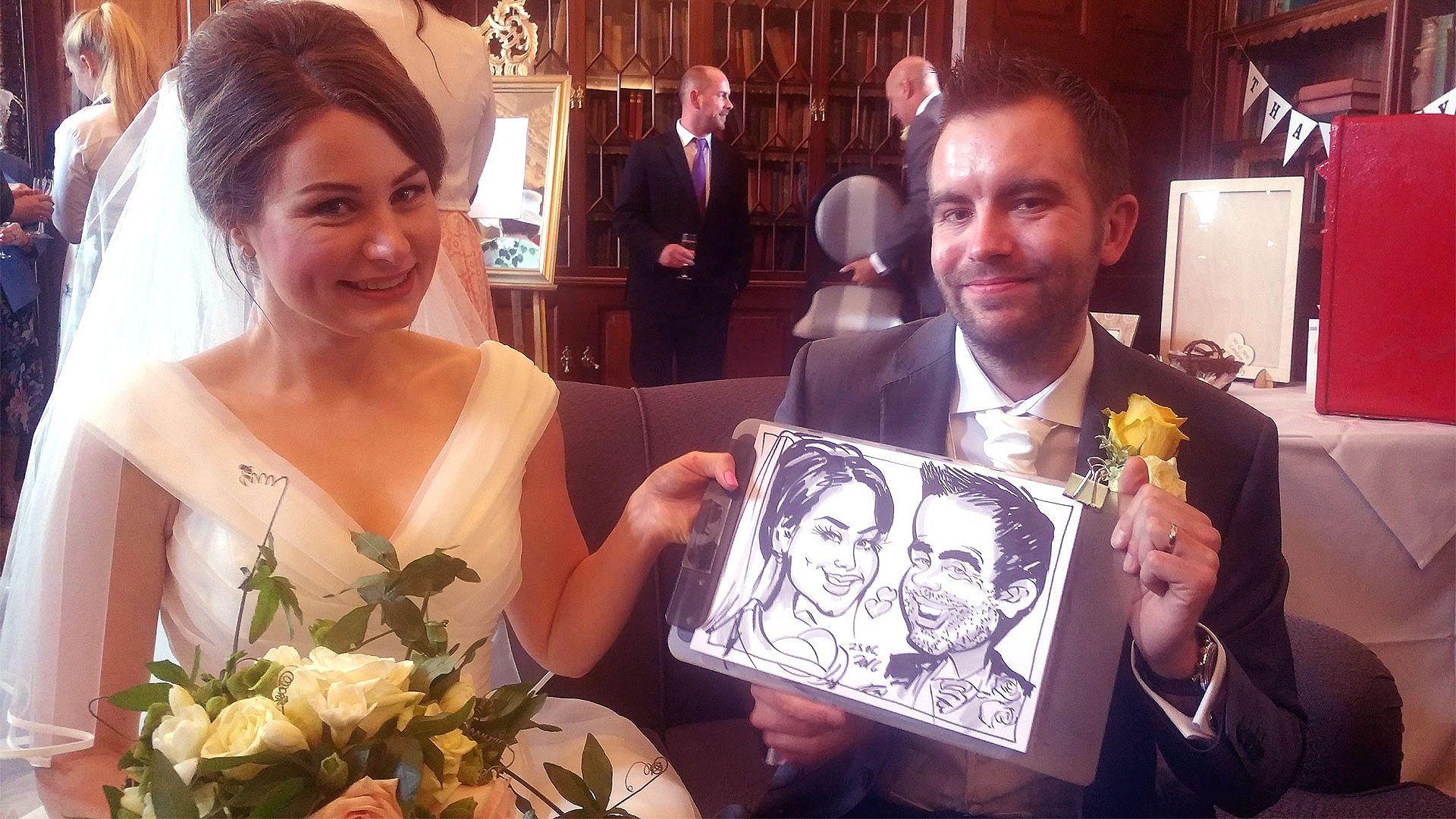 Wedding caricature of the bride & groom.