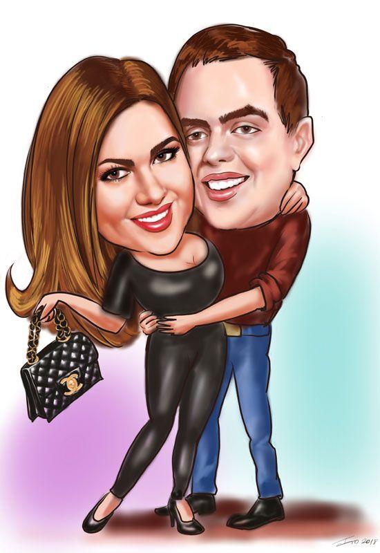 Digital caricature on iPad couple