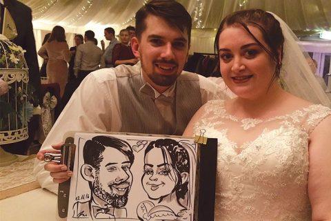 Wedding caricature of the bride & groom