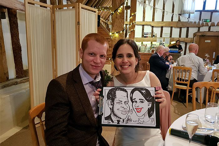 Wedding caricature of the bride & groom