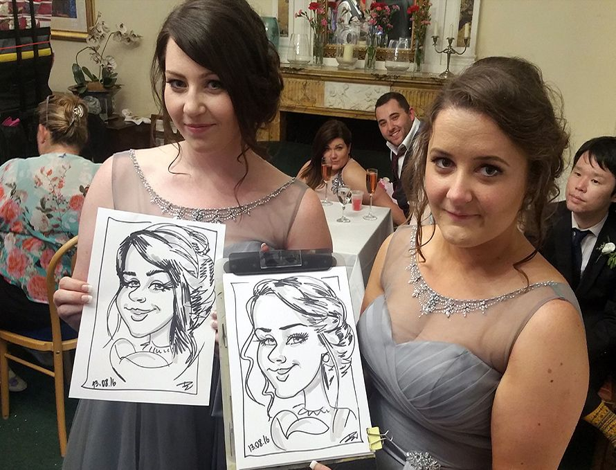 Caricatures of the bridesmaids