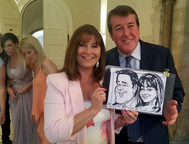 Wedding caricatures in Farnham castle